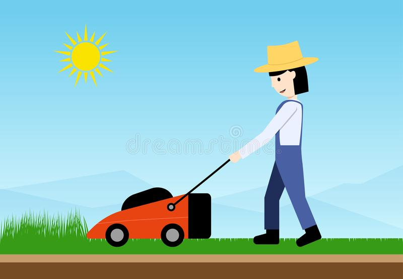 Woman use lawn mower, side view. flat vector art. Design stock illustration