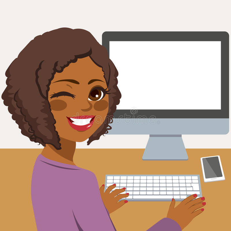 Woman Using Computer. Happy young African American woman using desktop computer vector illustration