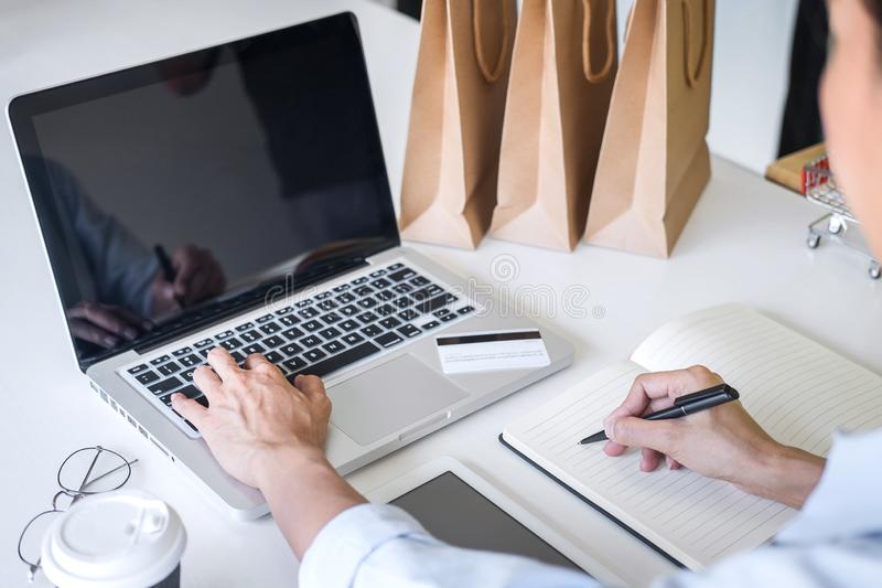 Woman using credit card register security code and payments online shopping and customer service network connection market, using. On laptop, Internet Online stock photography