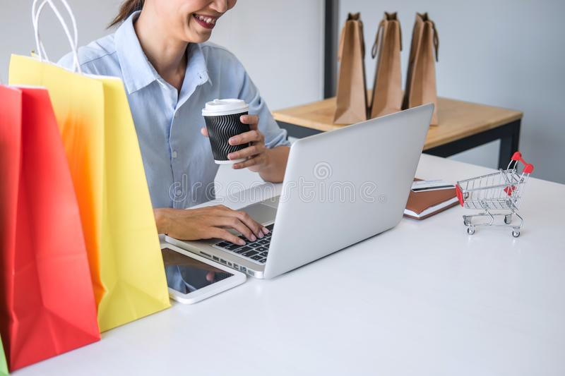 Woman using credit card register security code payments online shopping and customer service network connection market, using. Technology on laptop, Internet royalty free stock image