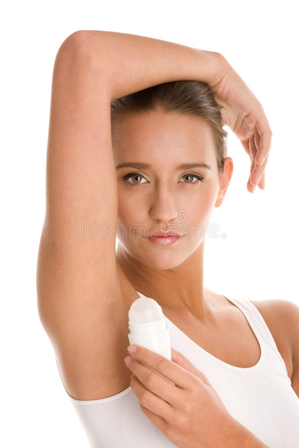 Free Woman Using Deodorant Royalty Free Stock Images - 18144379