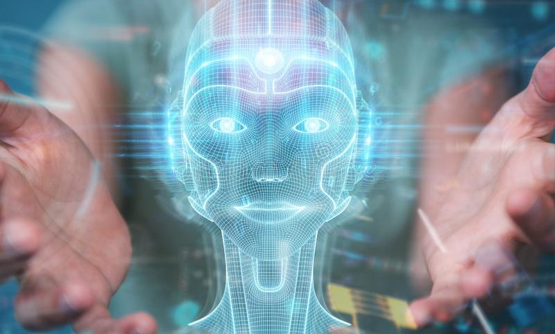 Woman using digital artificial intelligence head interface 3D rendering. Woman on blurred background using digital artificial intelligence head interface 3D stock illustration