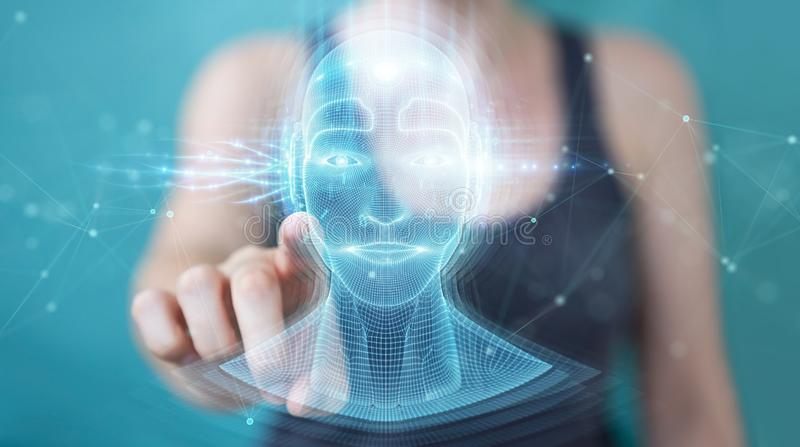 Woman using digital artificial intelligence head interface 3D rendering. Woman on blurred background using digital artificial intelligence head interface 3D royalty free illustration