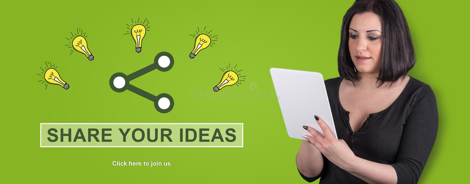 Concept of ideas sharing stock image