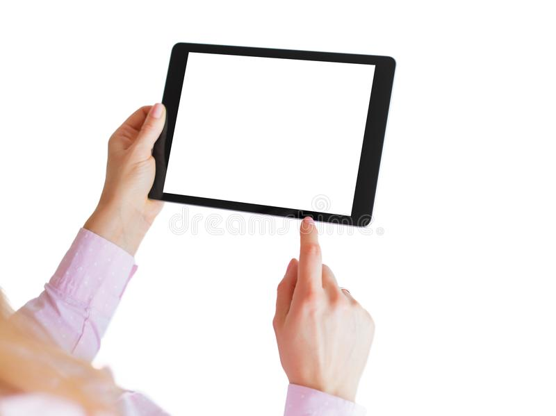 Woman using digital tablet. Mockup for your own app design. Woman using digital tablet isolated on white background. Mockup for your own app design royalty free stock photo
