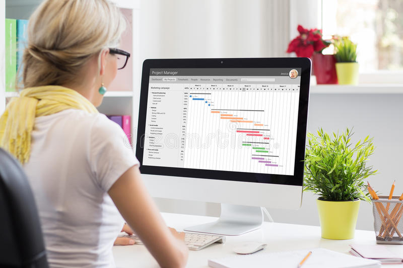 Woman using Gantt chart for project management. On computer stock photos