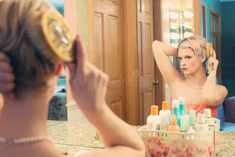 Woman Using Hair Brush Free Public Domain Cc0 Image