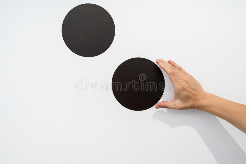 Woman using hands with dot graphic on white wall. Business info graphic interface design concept stock photo