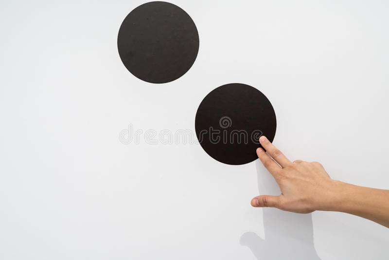 Woman using hands with dot graphic on white wall. Business info graphic interface design concept royalty free stock image