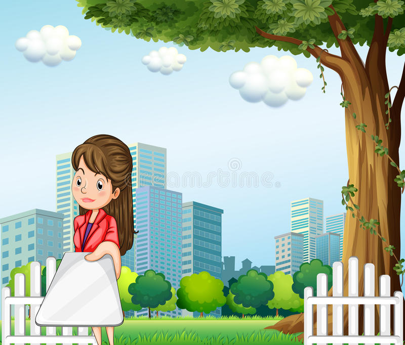 Download A Woman Using Her Gadget In Front Of The Buildings Stock Illustration - Image: 34316231