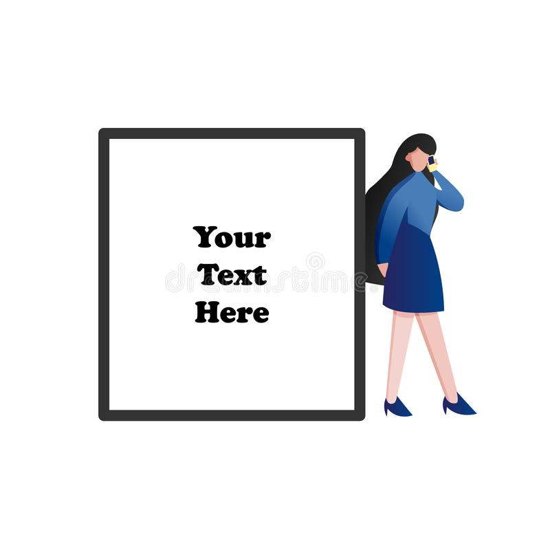Woman using her smart phone with blank space for text. Modern technology and Business people lifestyle concept. Flat character. Design illustration vector royalty free illustration