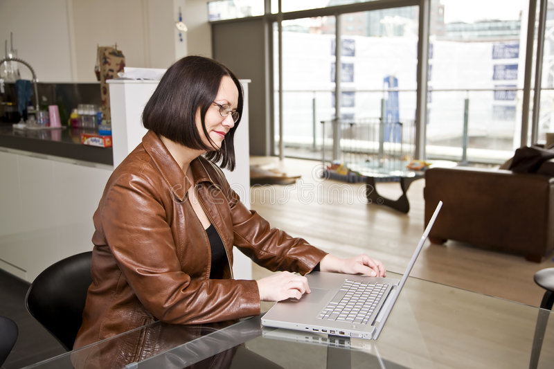 Download Woman Using A Laptop Computer At Home Stock Photo - Image: 8589410