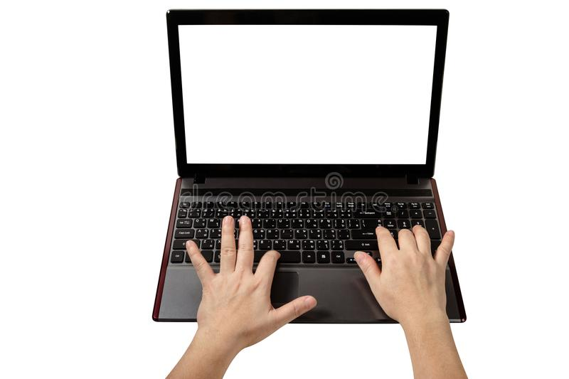 Woman using laptop isolated on white background,clipping path.  stock images