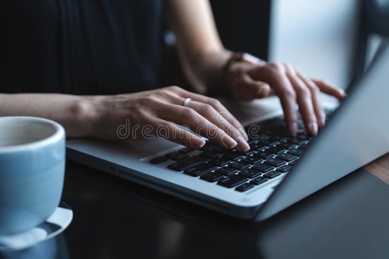 Woman using laptop, searching web, browsing information, having workplace at home or in creative office or cafe. royalty free stock images
