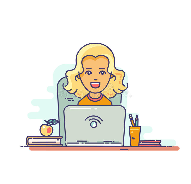 Woman using laptop vector illustration