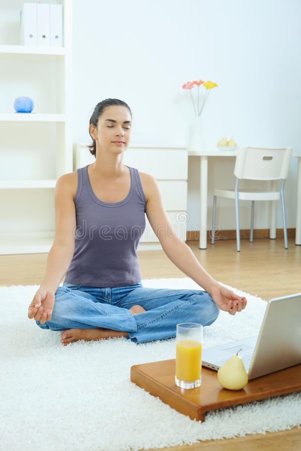 Free Woman Using Meditating At Home Stock Images - 10698204