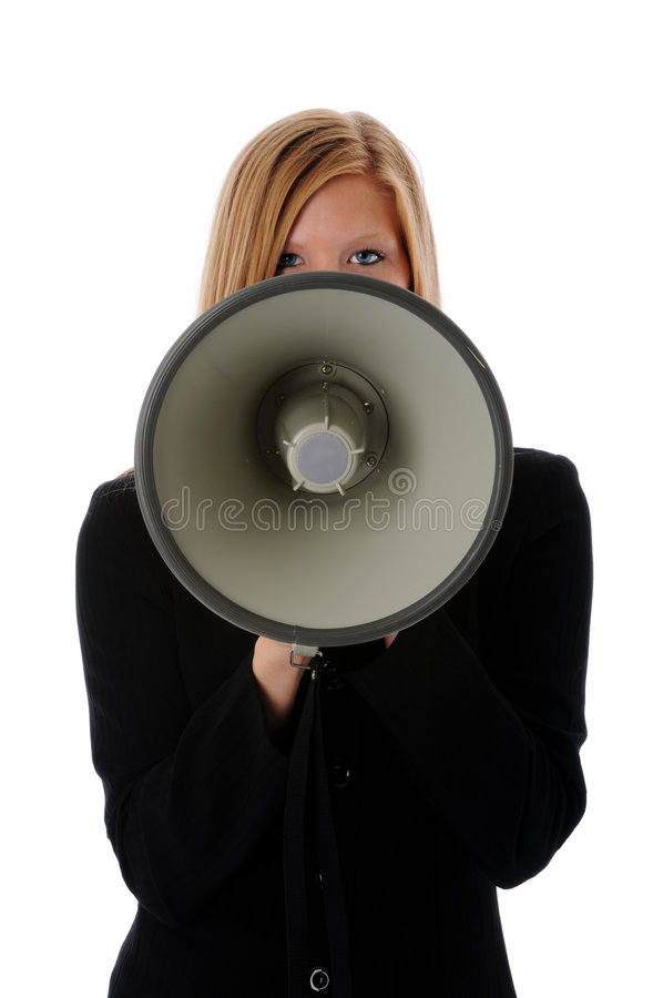 Download Woman Using Megaphone stock photo. Image of success, beauty - 5983600