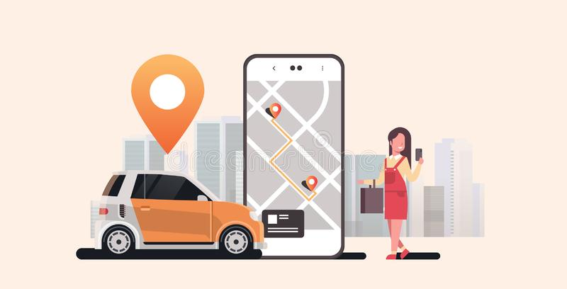 Woman using mobile app ordering automobile vehicle with location mark rent car sharing concept transportation carsharing. Service modern cityscape background vector illustration