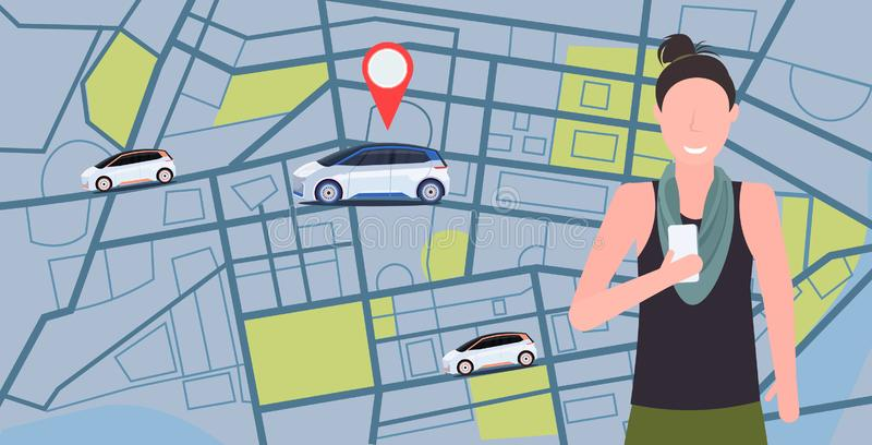 Woman using mobile app ordering automobile vehicle with location mark rent car sharing concept transportation carsharing. Service city map background horizontal vector illustration