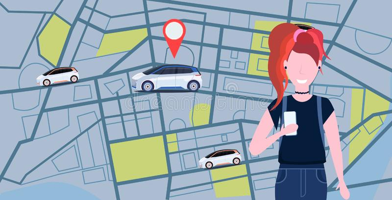 Woman using mobile app ordering automobile vehicle with location mark rent car sharing concept transportation carsharing. Service city map background horizontal stock illustration