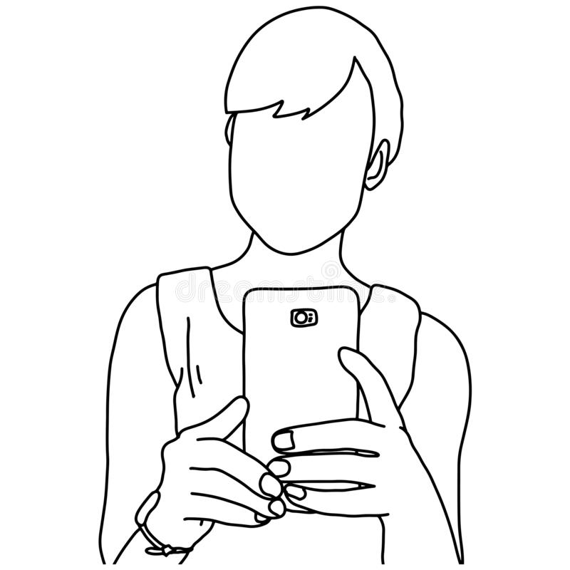 Woman using mobile phone vector illustration sketch doodle hand drawn with black lines isolated on white background.  vector illustration