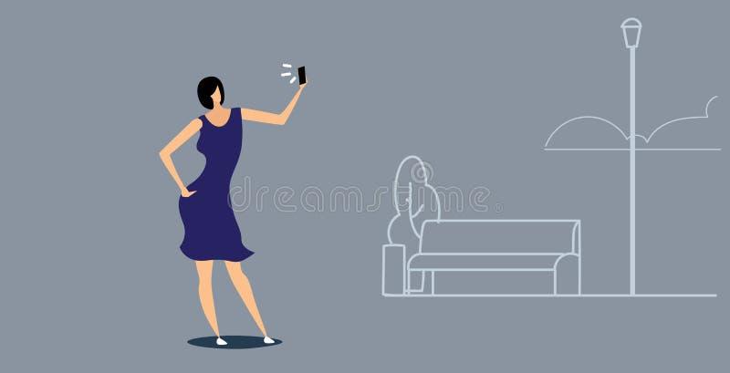 Woman using phone taking selfie on smartphone camera casual girl walking outdoor urban city park social media network stock illustration