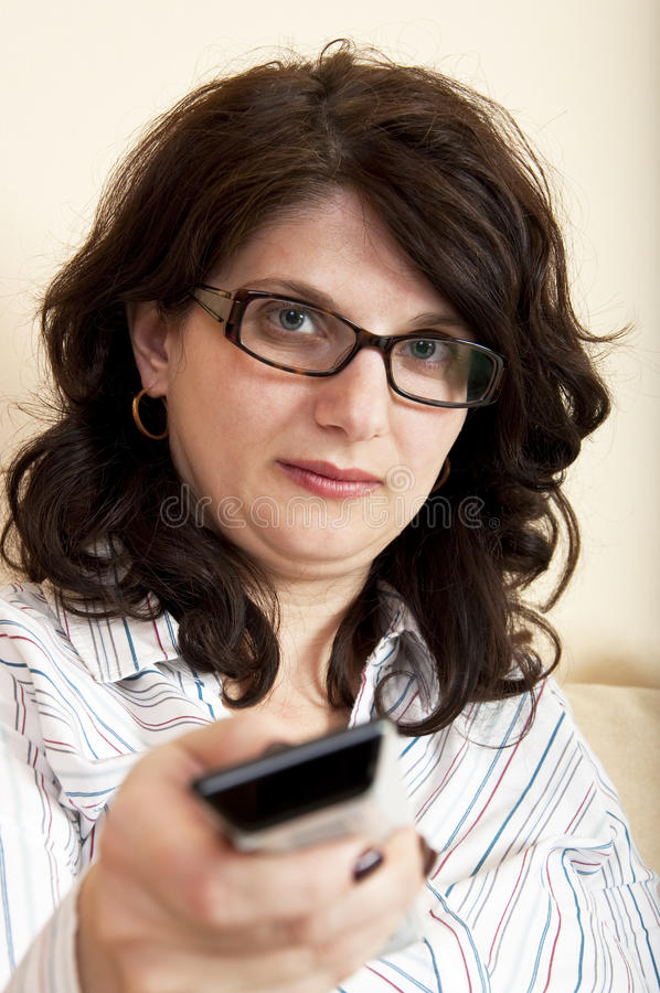 Woman using remote control