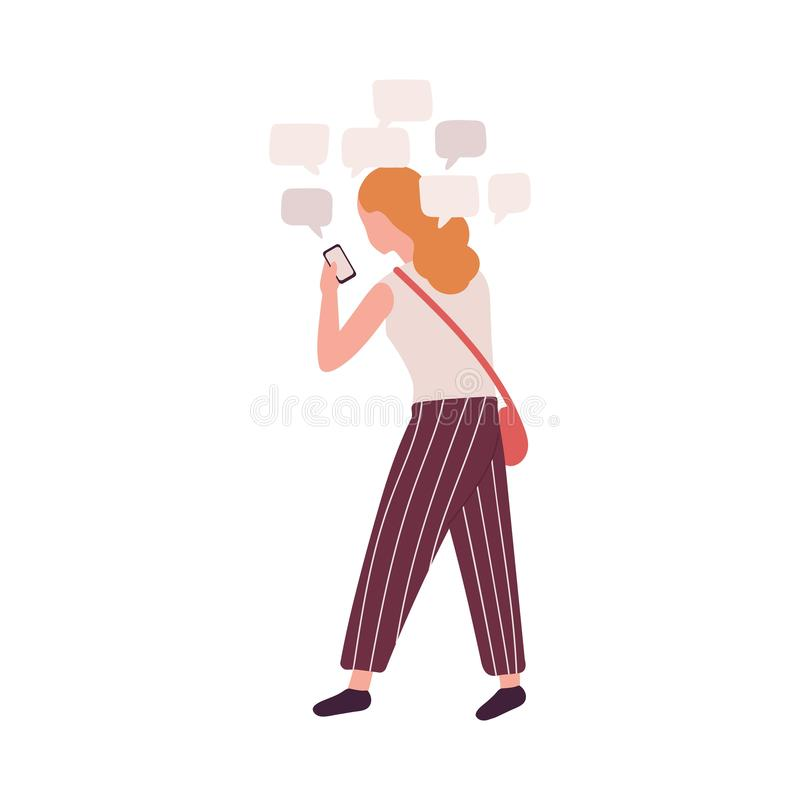 Woman using smartphone isolated on white background. Girl with social media obsession, online messenger addiction. Behavioral problem, psychiatric condition vector illustration