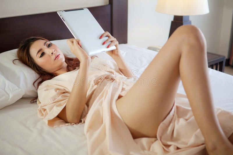 Download Woman using tablet stock image. Image of lady, alone - 34067637