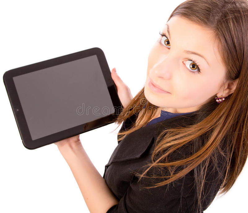 Woman Using Tablet Computer or iPad. Beautiful happy young woman smiling and using a tablet computer isolated on white