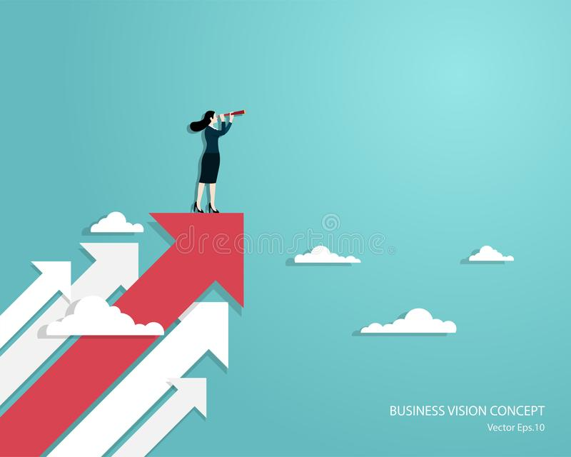 Woman using telescope standing on arrow. Business vision and target, Business woman holding telescope standing on red arrow up go to success in career. Concept stock illustration