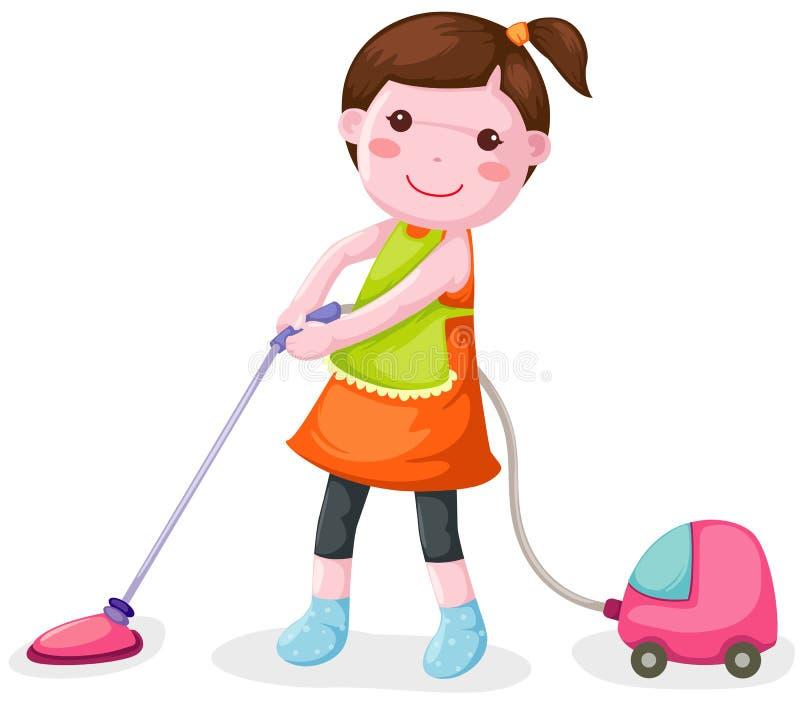 Woman using vacuum cleaner vector illustration