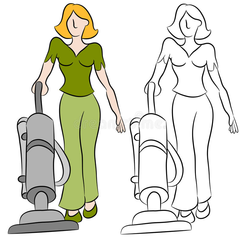 Download Woman Using A Vacuum Cleaner Stock Vector - Illustration: 19848063
