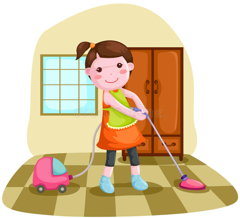 Woman using vacuum cleanner vector illustration