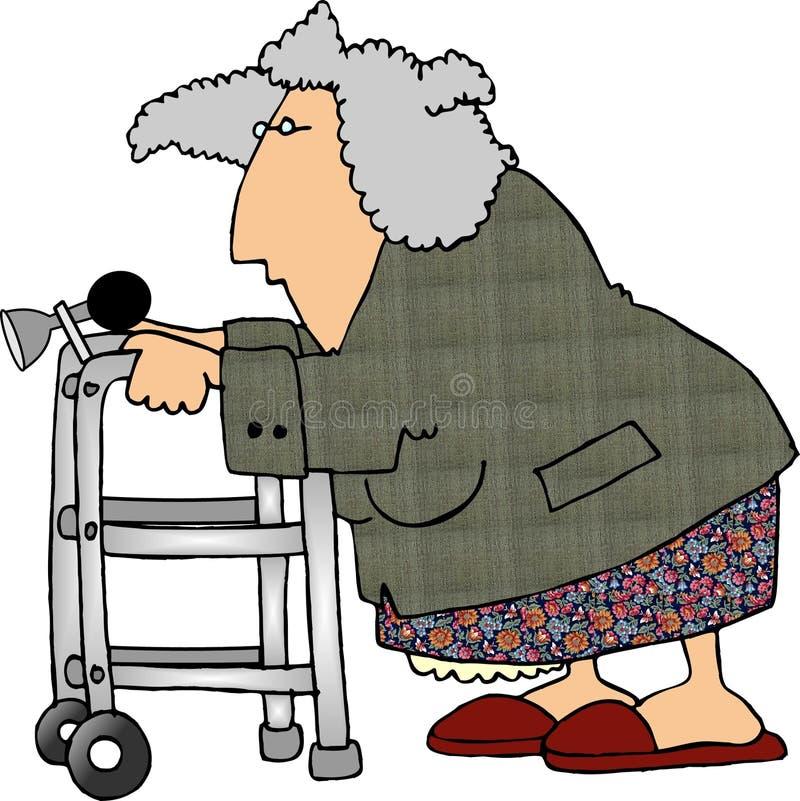 Woman using a walker royalty free illustration