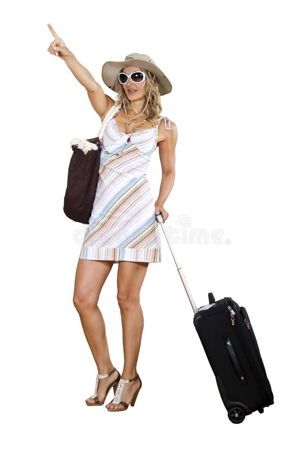 Woman on vacation with beach bag