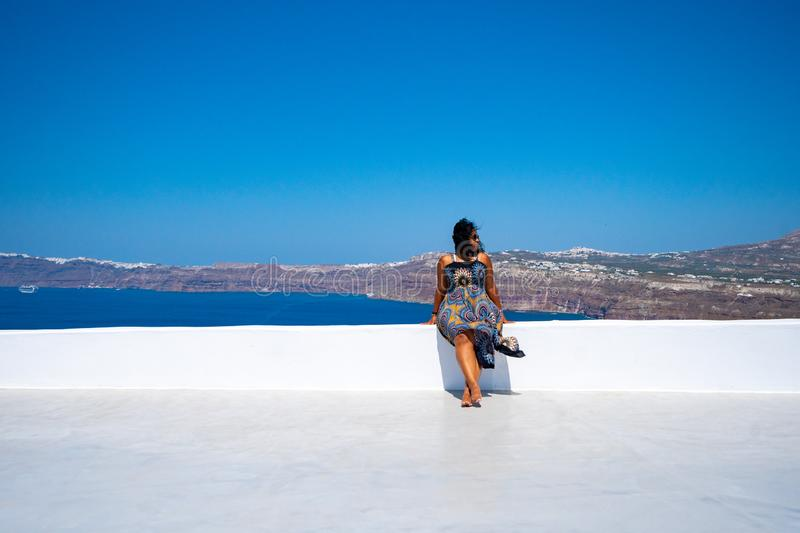 Woman On Vacation In Santorini stock image
