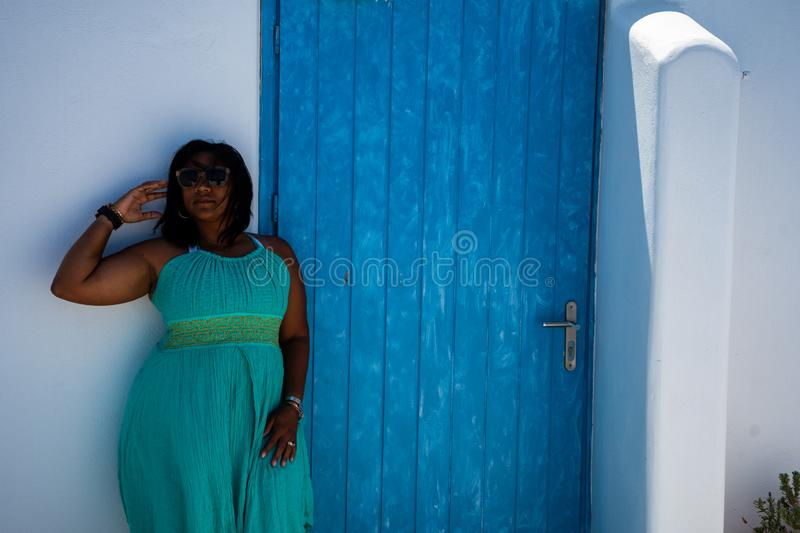 Woman On Vacation In Santorini royalty free stock image