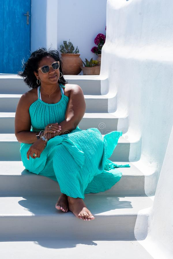 Woman On Vacation In Santorini royalty free stock photography