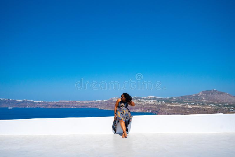 Woman On Vacation In Santorini stock photography