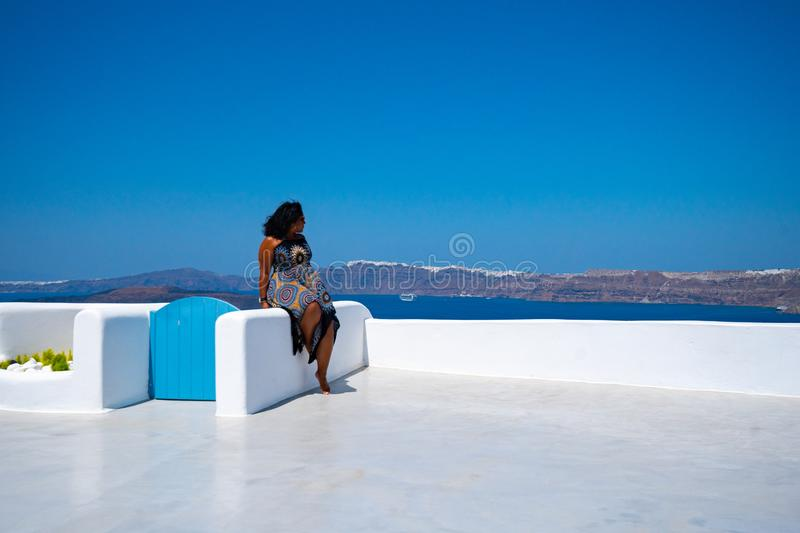 Woman On Vacation In Santorini stock photos