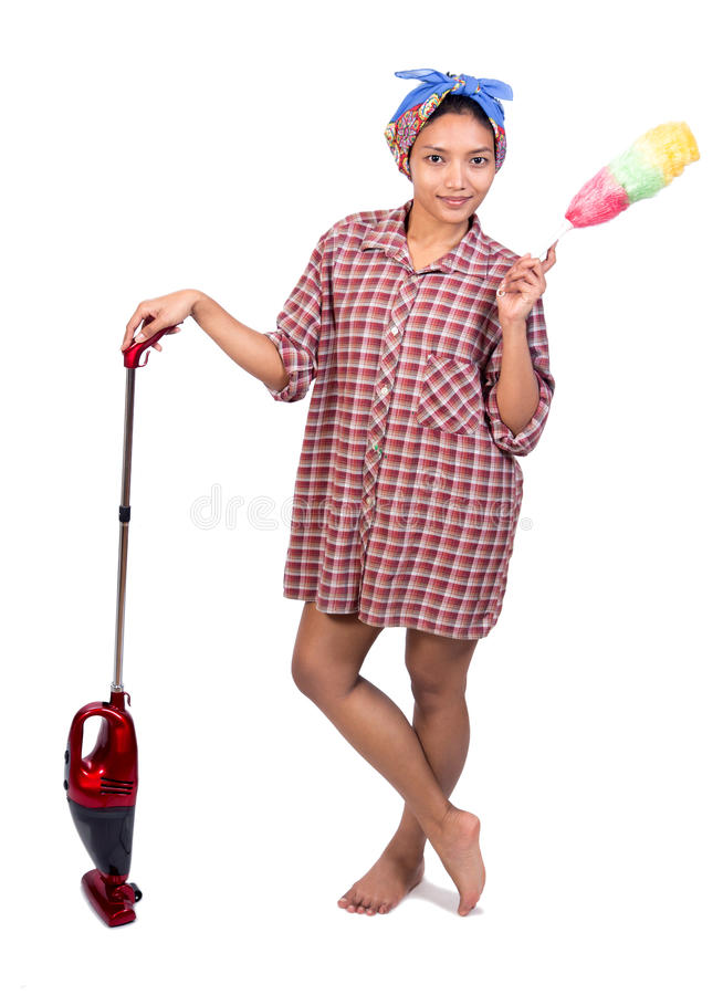 Woman with vacuum cleaner royalty free stock photography