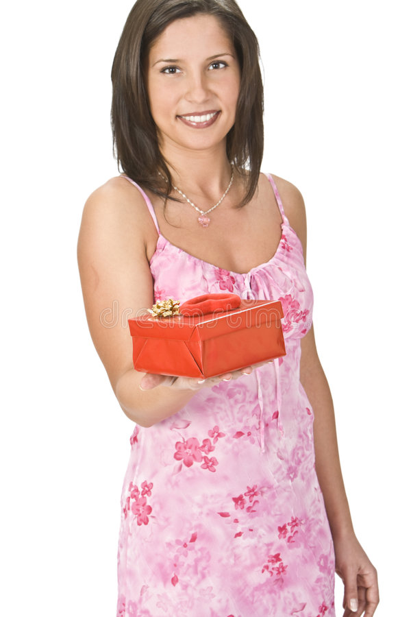 Woman with a Valentine gift