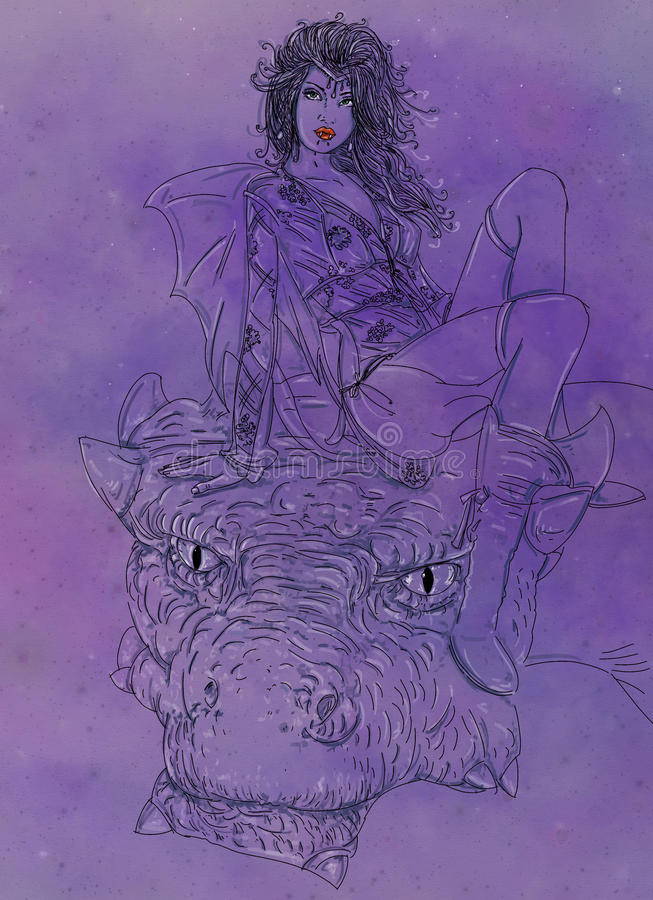 Woman vampire with dragon, woman riding a dragon in the night Starry and mysterious. comic inspired images gives free domain. vector illustration