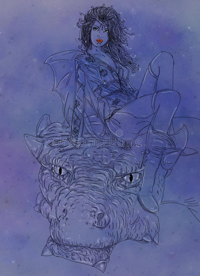 Woman vampire with dragon, woman riding a dragon in the night Starry and mysterious. comic inspired images gives free domain. royalty free illustration