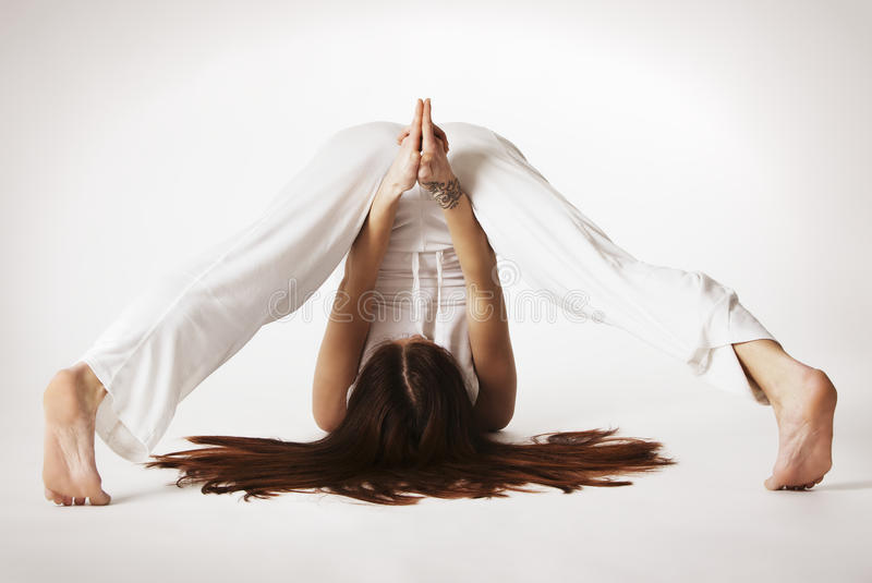 Download Woman In Variation Of Plough Yoga Posture Stock Image - Image: 16137321