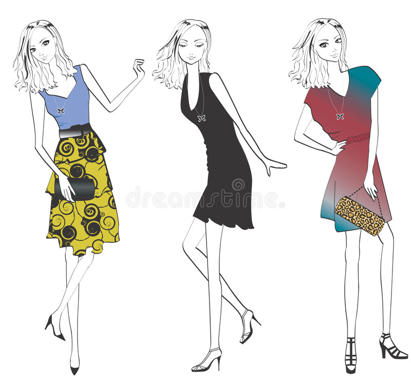 Woman in various fashion. Woman posing and showing off her different looks and outfits *Faces appear better in high-quality download image vector illustration