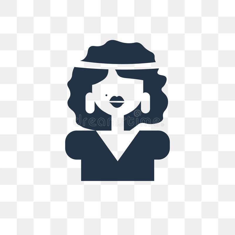 Woman vector icon isolated on transparent background, Woman tra stock illustration