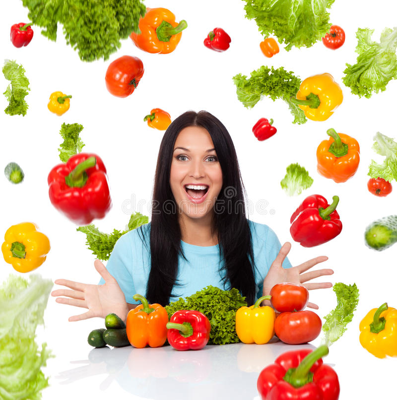 Woman vegetable concept royalty free stock image