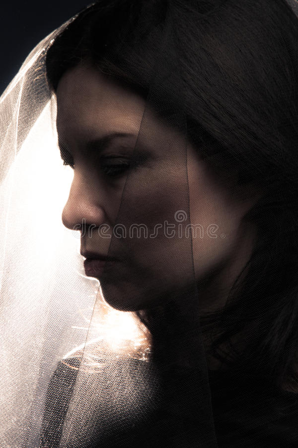 Download Woman with veil stock image. Image of dark, widow, black - 25396451